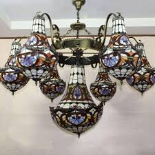 creative art antique stained glass pendant light bar hotel villa tifffany lamp chandelier hanging light ing pendant light glass light
