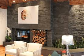 Dark Stacked Stone Fireplace modern-living-room