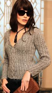Women's Hand Knit <b>V</b>-<b>neck</b> Sweater 51J | Knitting women, Stylish ...