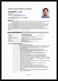 Mechanical Engineering Resume Resumes Diploma Experience Format