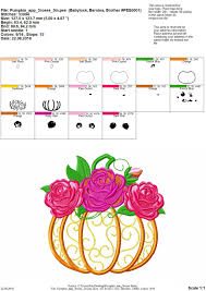Embroidery Design App Autumn Pumpkin With Shabby Chick Roses Flowers Crown