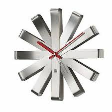 umbra ribbon wall clock stainless steel