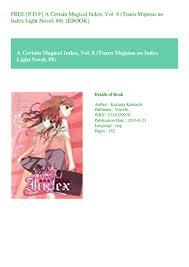 A Certain Magical Index Light Novel English Online Free P D F A Certain Magical Index Vol 8 Toaru Majutsu