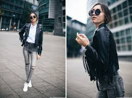 how to wear a fringe leather jacket with stan smith sneakers