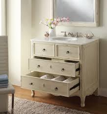 Distressed Bathroom Cabinet Adelina 34 Inch Vintage Bathroom Vanity Distressed Cream Finish