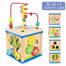 details about activity cube toys baby educational wooden bead maze shape sorter for 1 year old