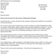 Cover Letter For Internal Promotion Job Promotion Cover Letter Example Icover Org Uk