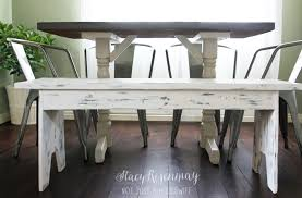 distressed white table. White Distressed Bench Table T