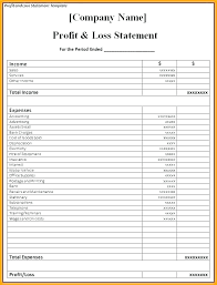 profit and loss form simple yearly profit and loss template