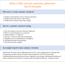 A Summary For A Resumes How To Write A Resume Summary Statement 10 Examples