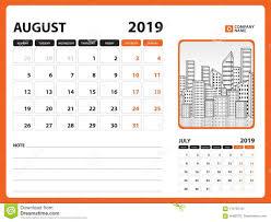 Desk Calendar Printable Desk Calendar For August 2019 Template Printable Calendar