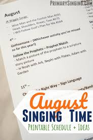 Singing Time Monthly Plan August 2019