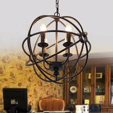 vintage industrial chandelier 6light hanging fixture orb round ball cage fixture black intl