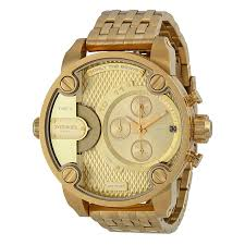 diesel little daddy dual time chronograph gold tone dial steel diesel little daddy dual time chronograph gold tone dial steel men s watch dz7287