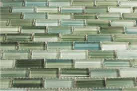 blue green hand painted glass subway mosaic tile kitchen