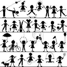 Bambini Disegnati A Mano Stilizzata Che Giocano Manifesti Da Muro