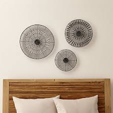 on wall art pieces decorating with intricate circle metal wall art 3 piece set reviews crate and barrel