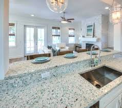 in the emerald coast glass countertop you sea a lot of beautiful sea greens this sea glass style countertop also includes recycled south ina oyster