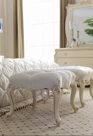 Ottomans For Bedroom Ym011 Luxury Classic Elegant French Ivory White Solid Wood Fabric