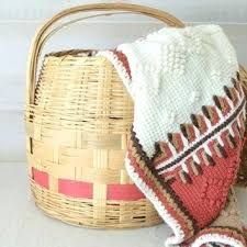 woven basket with lid. Woven Baskets With Handles Large Decorative Wicker Storage Basket Lid Vintage Gathering Handle .