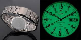 soki noctilucous luminous dial face for dark area mens quartz date watch information w060