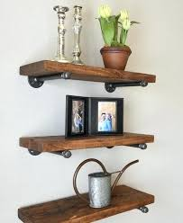 industrial floating shelf brackets set of 3 deep shelves combo wood pipe x cb2
