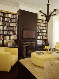 living room furniture color ideas. Modern Library Living Room With Chocolate Brown Bookshelves And Fireplace Blonde Yellow Sofa Color Ideas Furniture