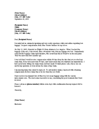 Complaint Letter Requesting Reimbursement For Lost Luggage