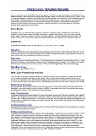 8 Preschool Teacher Resume Samples