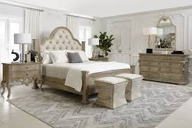 Bernhardt Campania 4pc Upholstered Panel Bedroom Set in Weathered Sand