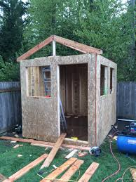 walls framed and started rafters backyard home office build