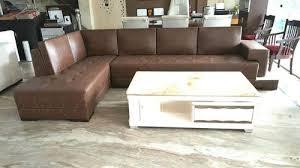 6 seater brown designer leather sofa