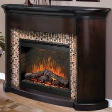 charming dimplex electric fireplaces with black frame surrounded by mosaic tile and wooden mantel kit on wooden floor matched with beige wall for family