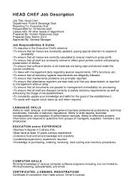 Chef Job Description Resume Stunning Cook Duties Head Chef Job Description Resume Job 67