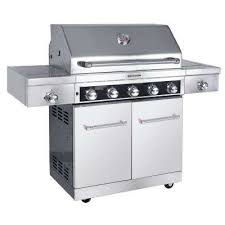 5 burner propane gas grill in stainless steel with sear and side burners with cover