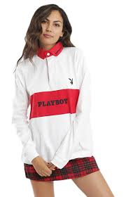 bunny stripe rugby shirt white red