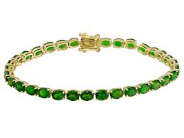 green chrome diopside 10k yellow gold tennis bracelet 12 25ctw docy982 jtv com