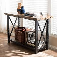 baxton studio herzen vintage industrial medium brown wood console table wood console table i13