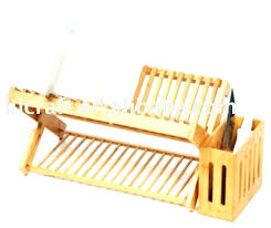 wooden dish drying rack wood bamboo with utensil holder wooden dish drying rack