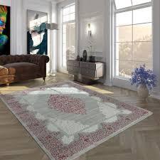 Polyacryl Teppich Modern Barock Grau Rosa