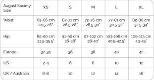 Singapore Size Chart Size Guide August Society Singapore Swimwear Bikinis