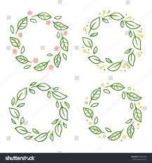 Of Wreaths Set Wreaths Green Leaves Flowers Hand Stock Vector 540835636