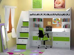 chic loft bed with desk underneath plans with green and white cor for