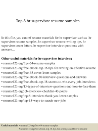 Top 8 hr supervisor resume samples In this file, you can ref resume  materials for ...