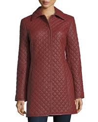 Neiman Marcus Leather Collection Quilted Leather Trenchcoat &  Adamdwight.com