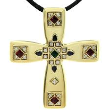 cartier byzantine multi color gemstone diamonds yellow gold cross pendant brooch for at 1stdibs