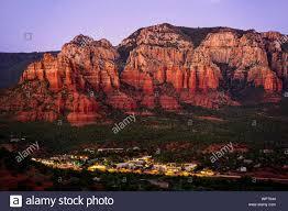 Light Show In Sedona Az Red Rocks And City Lights At Sunset In Sedona Arizona Stock