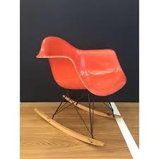 eames rocking chair vintage. rar rocking chair eames original et vintage red orange - herman miller