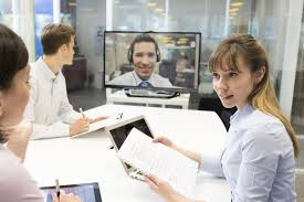 the office the meeting. Business Meeting In Office, Chatting On Video Conference The Office M