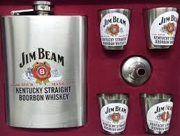 jim beam stainless steel hip flask gift set box 8 oz 230 m